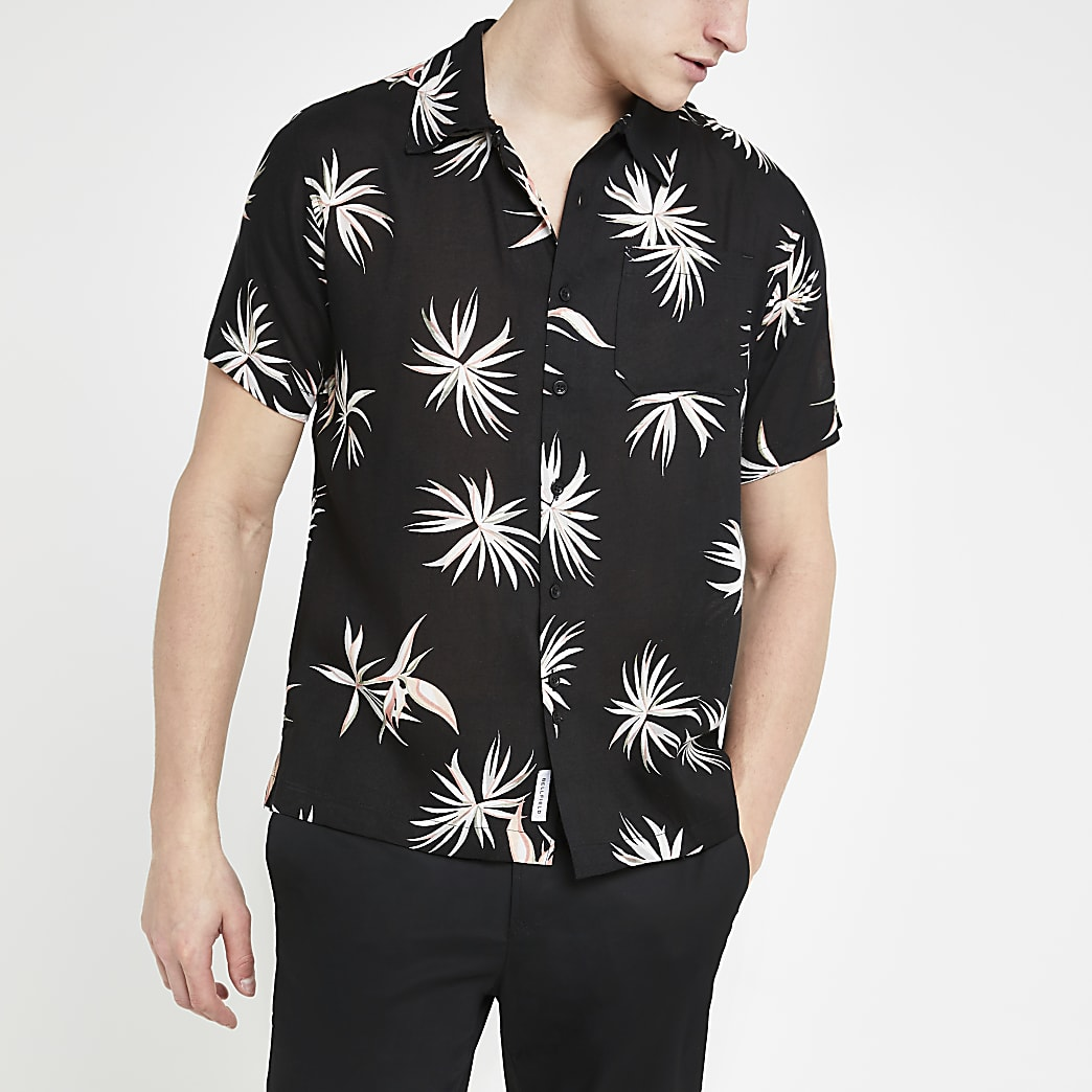 Bellfield – Chemise manches courtes noire à fleurs