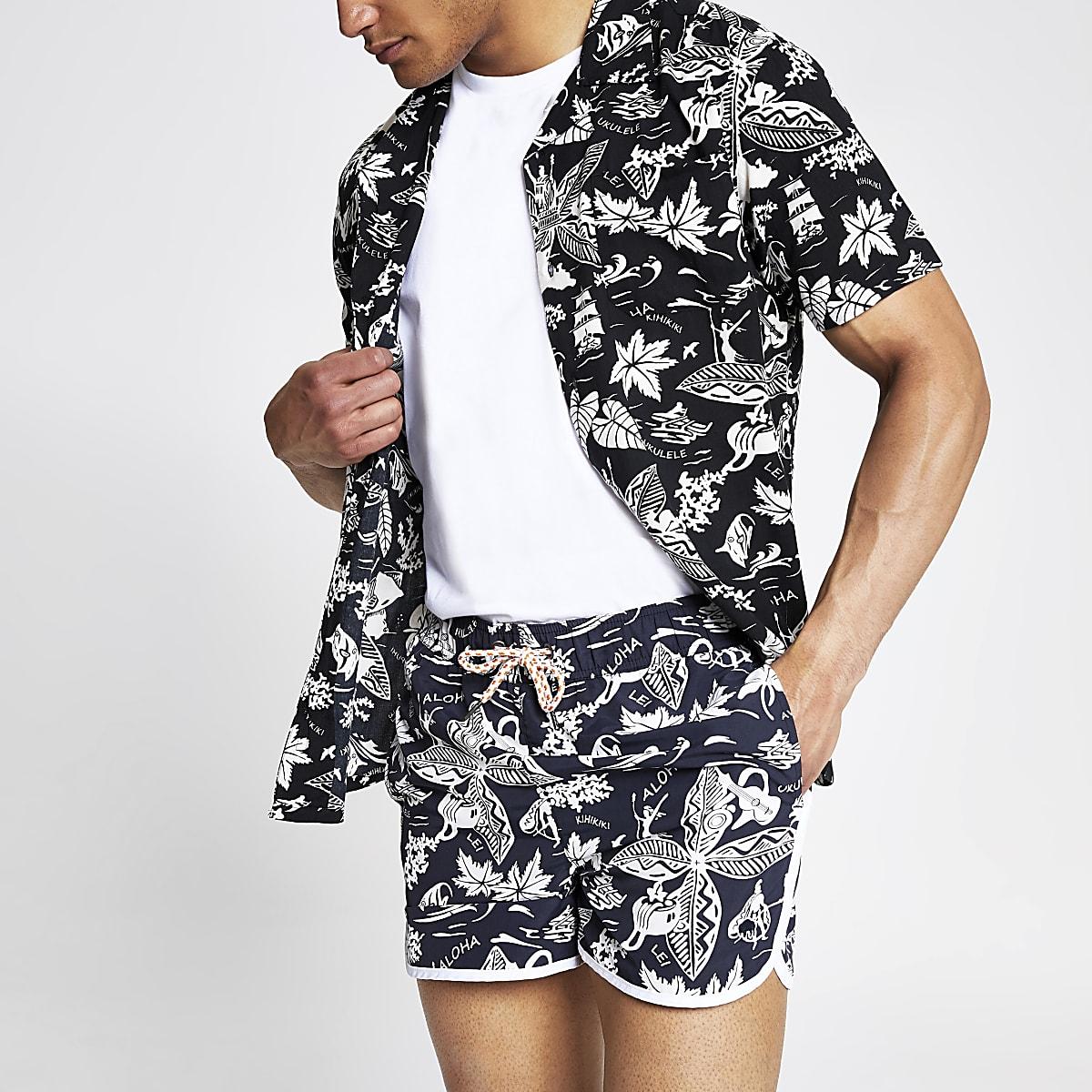 Bellfield - Zwart overhemd met Hawaii-print