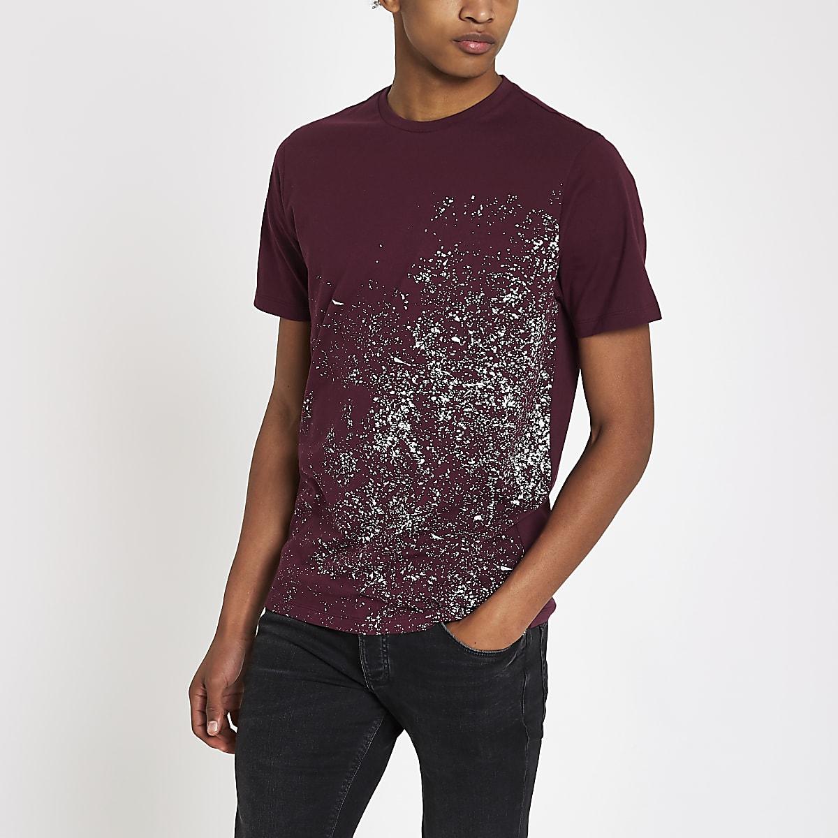 Bordeauxrood slim-fit T-shirt met verfspatten