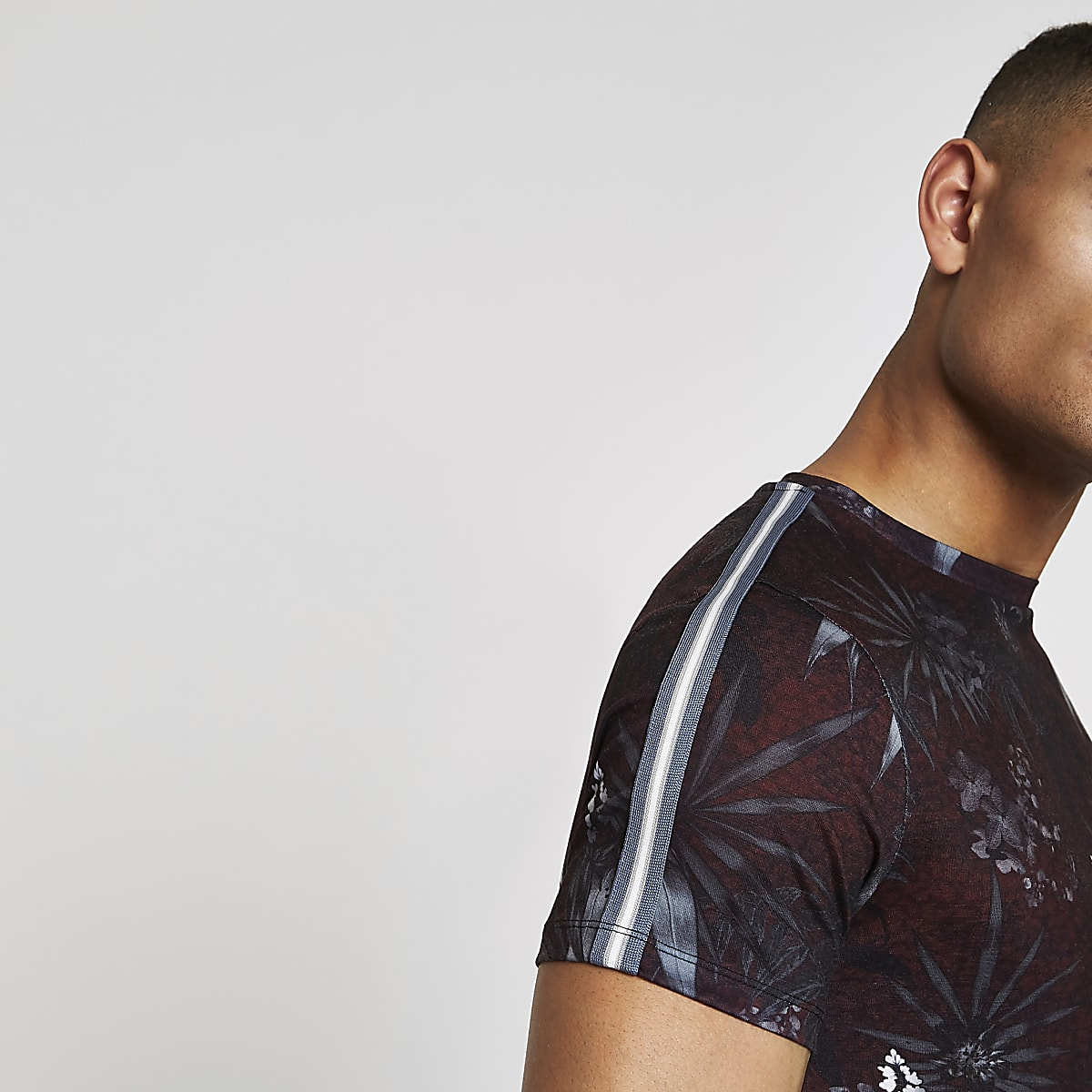 Black floral print muscle fit tape T-shirt