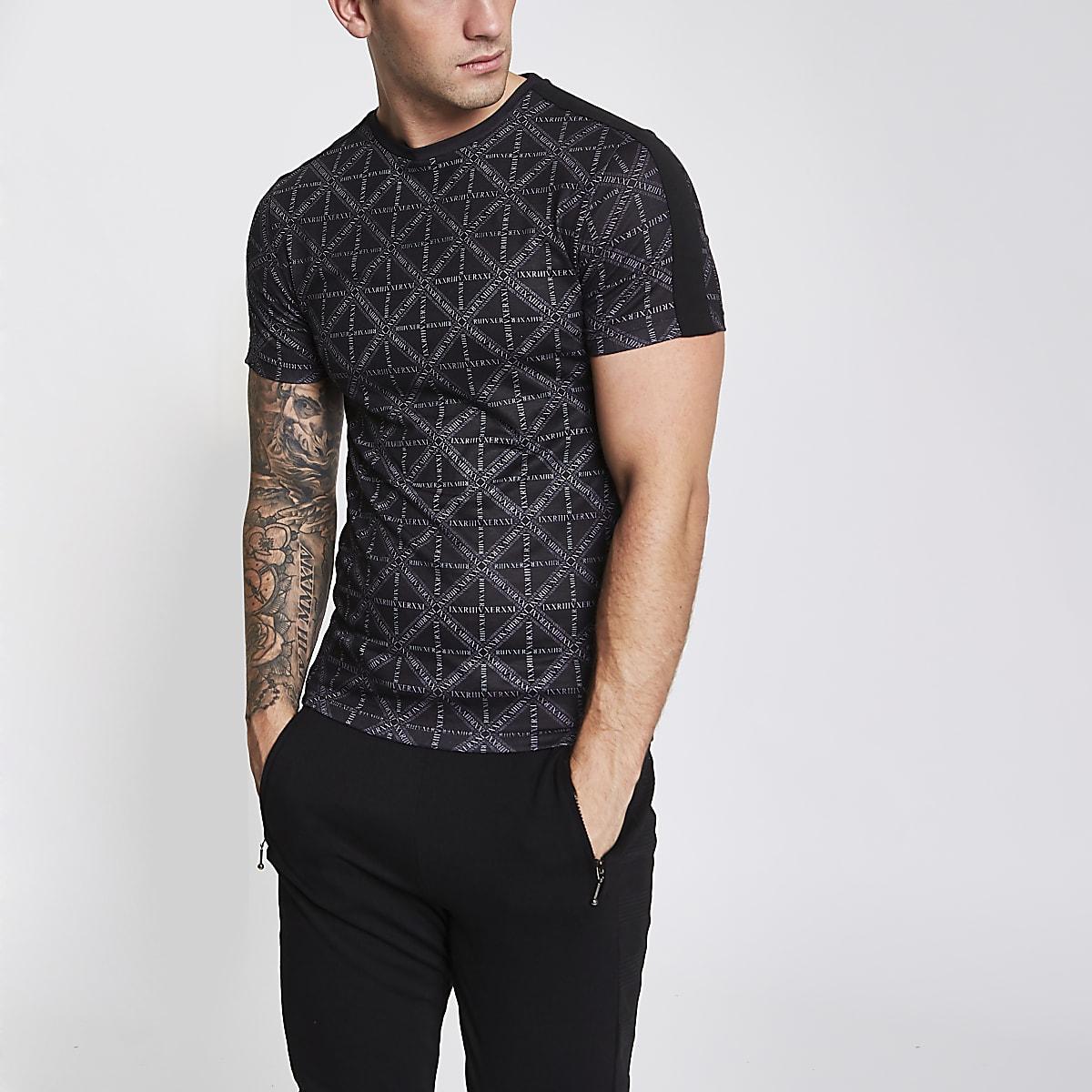Black RI diamond print slim fit T-shirt