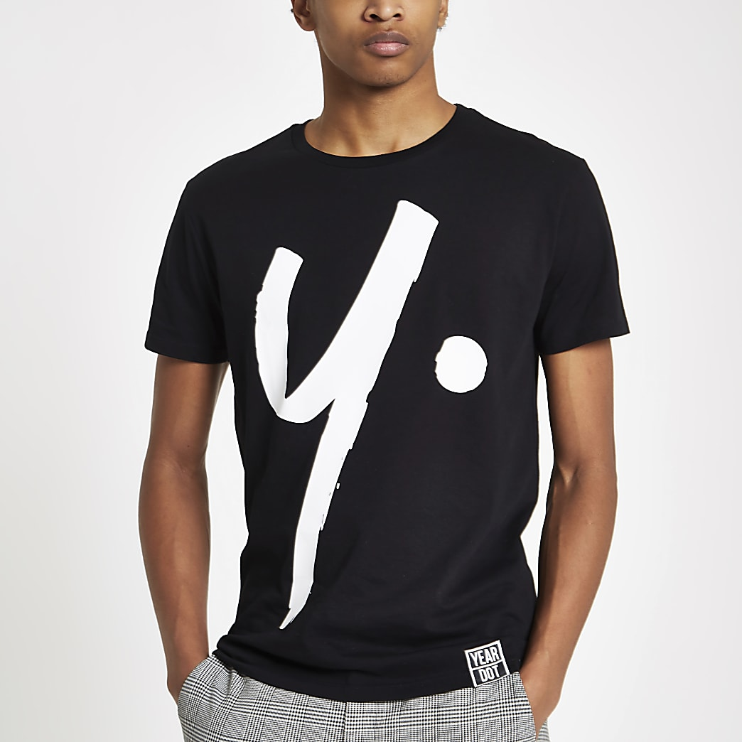 Year Dot black logo print T-shirt