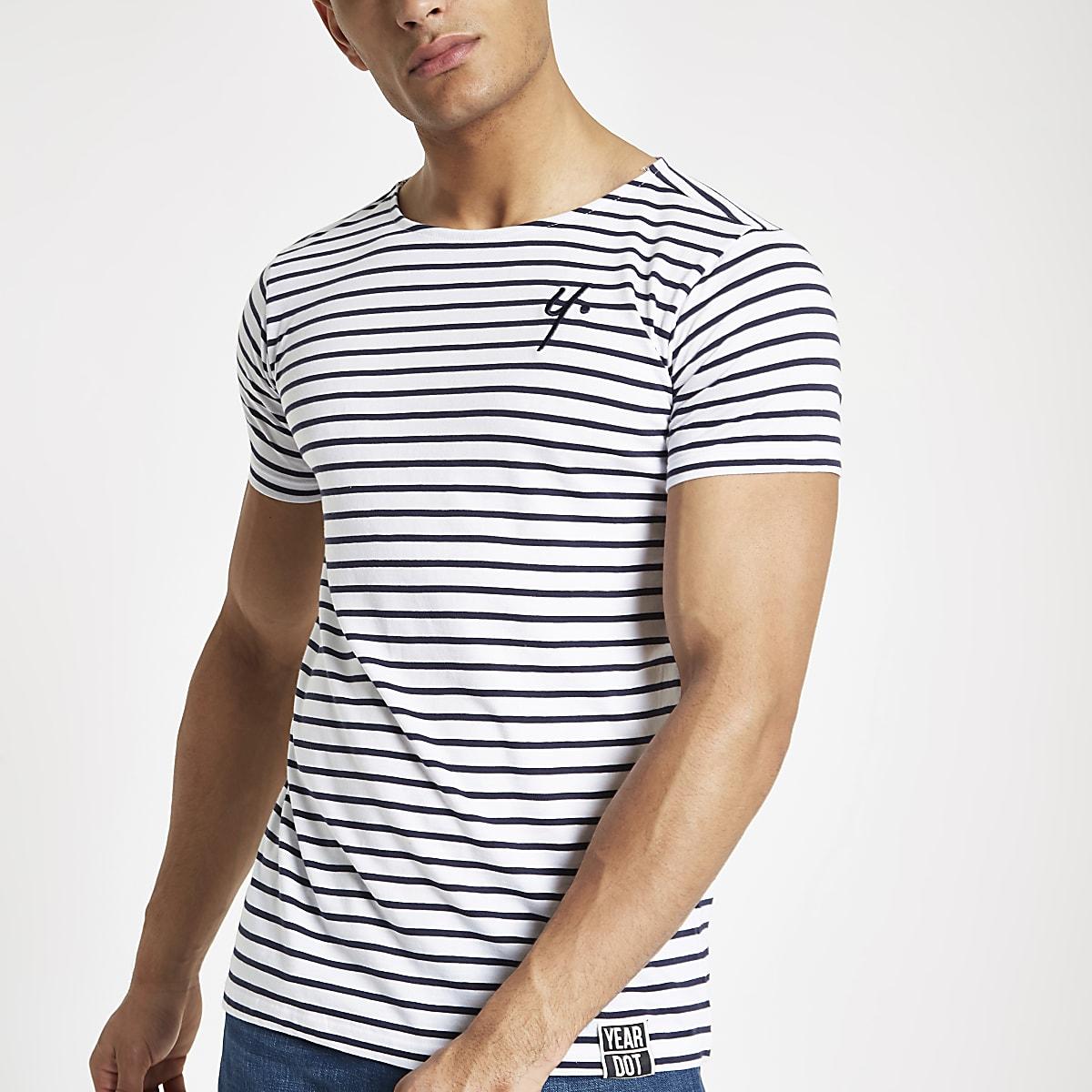 Year Dot - Wit gestreept T-shirt
