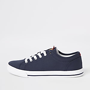 Navy canvas lace-up plimsolls
