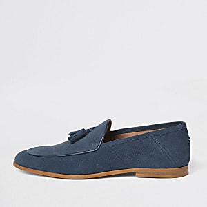 Blue suede wasp embroidered loafers