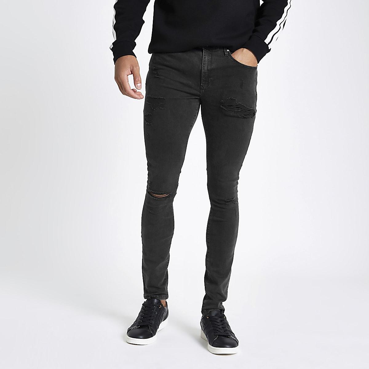 Ollie - Zwarte spray-on ripped jeans
