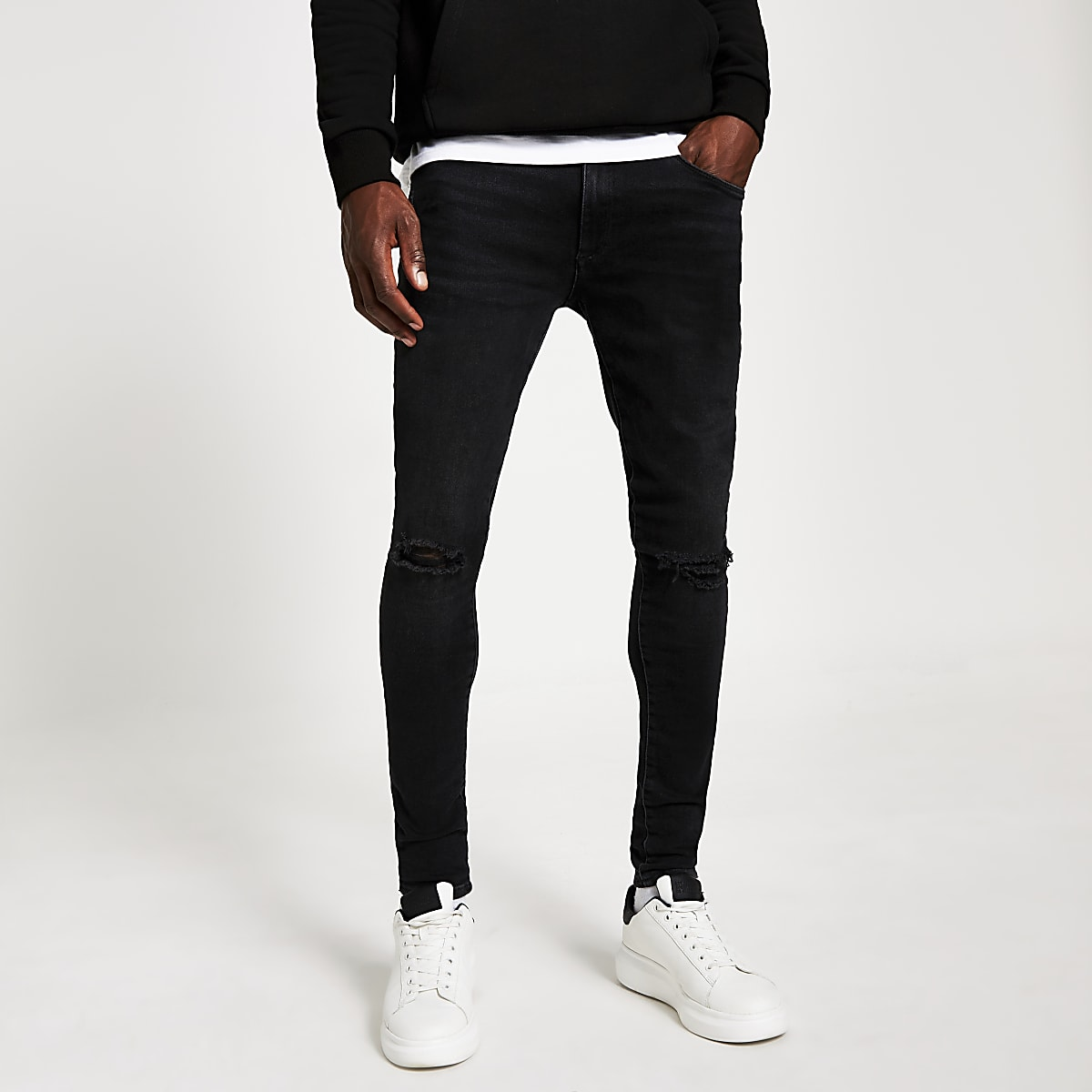 Ollie - Zwarte ripped spray-on jeans