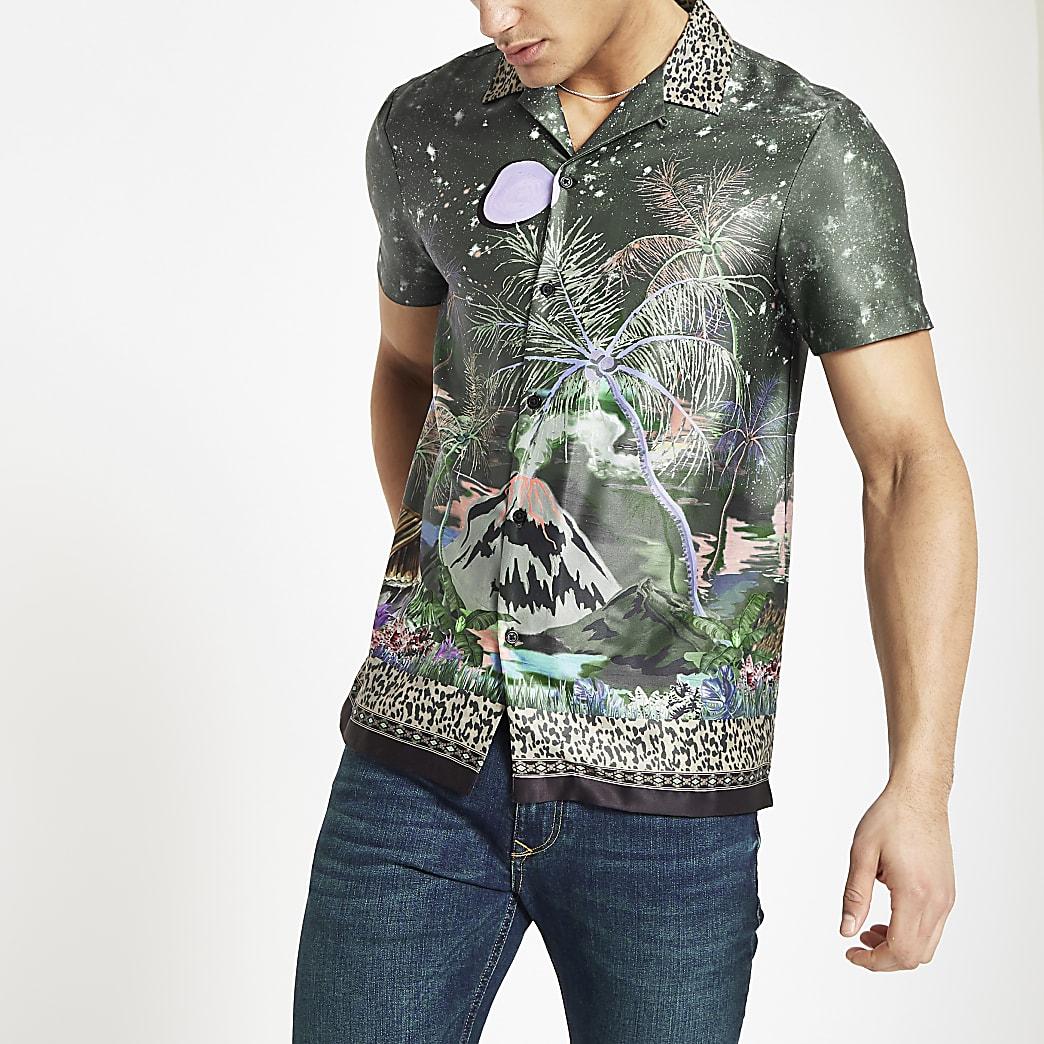 Khaki floral printed revere shirt