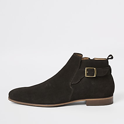 Brown suede buckle Chelsea boot