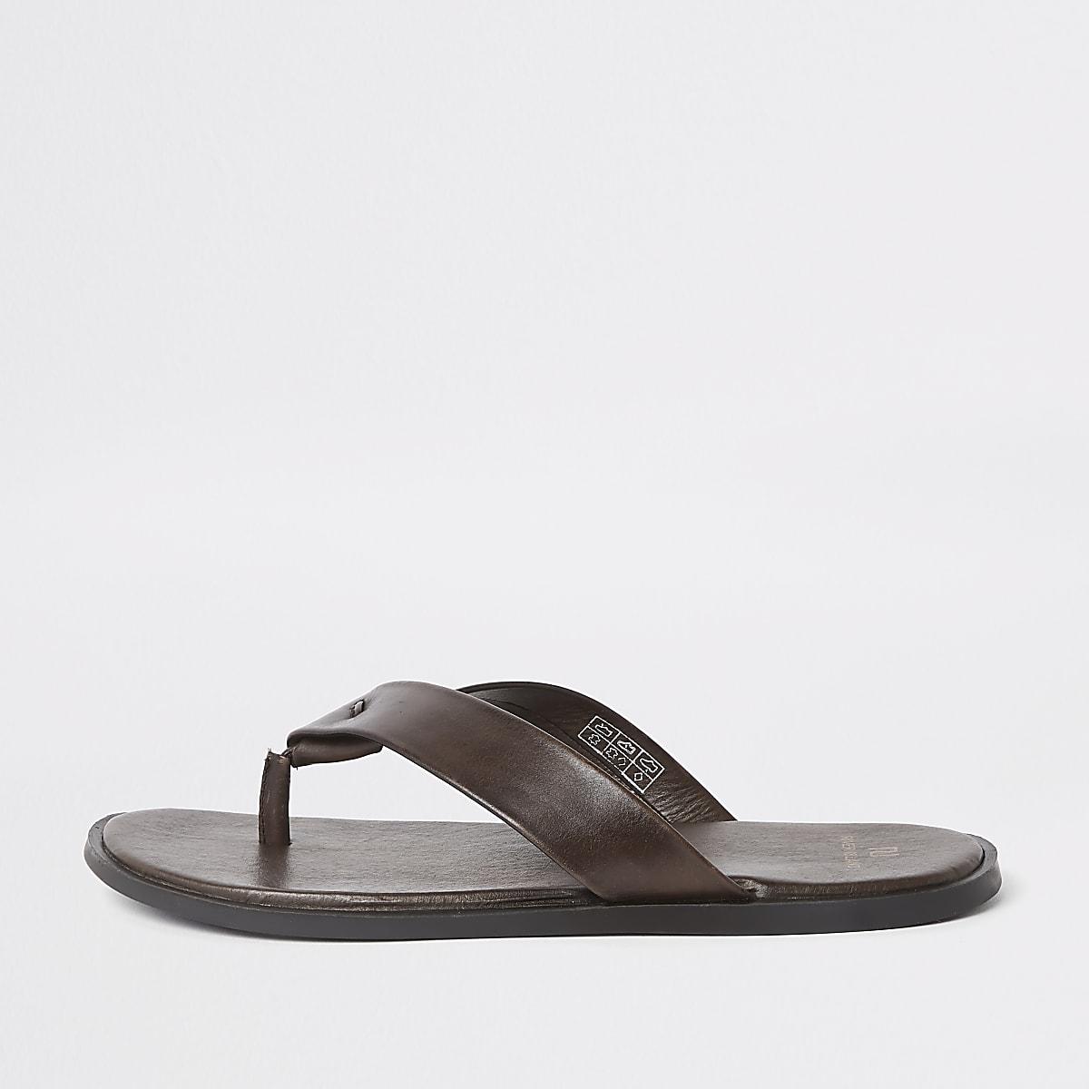 Dark brown leather flip flop sandals