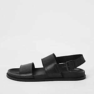 Zwarte leren sandalen met twee bandjes
