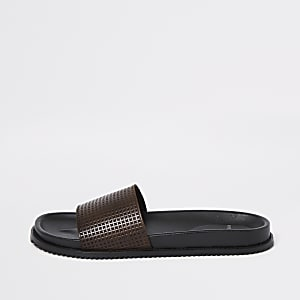 Brown leather sliders