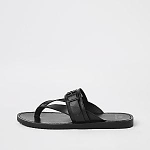 Flip Flops aus schwarzem Leder