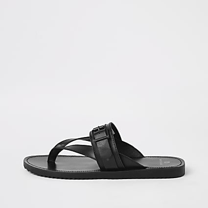 Black leather buckle flip flops