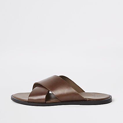 Tan leather cross over sandals