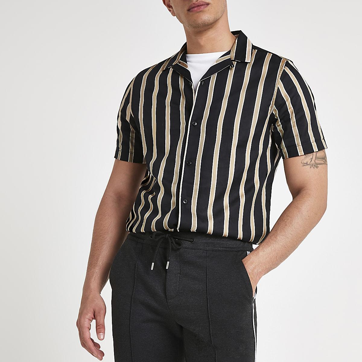 994bef7b75ff1 Black stripe print revere shirt - Short Sleeve Shirts - Shirts - men