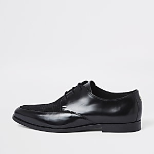 Black high shine textured lace-up derby shoes
