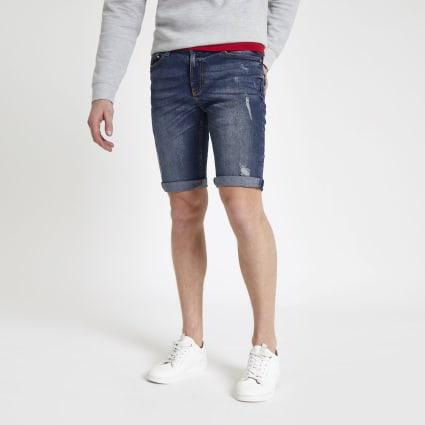 Mid blue Sid skinny stretch ripped shorts