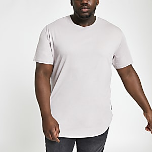 Only & Sons – Big & Tall – Graues, langes T-Shirt