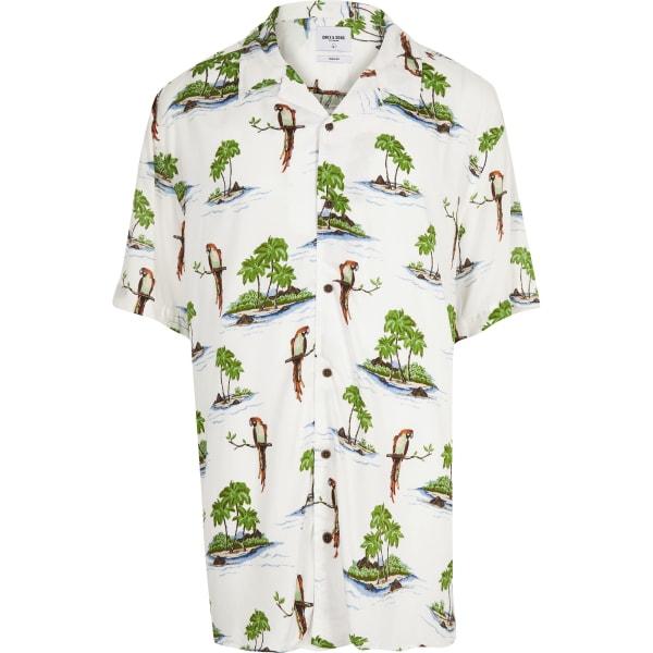 River Island - & sons – big & tall – weißes hawaii-hemd - 5