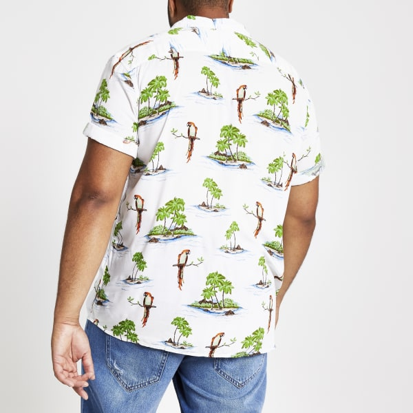 River Island - & sons – big & tall – weißes hawaii-hemd - 3