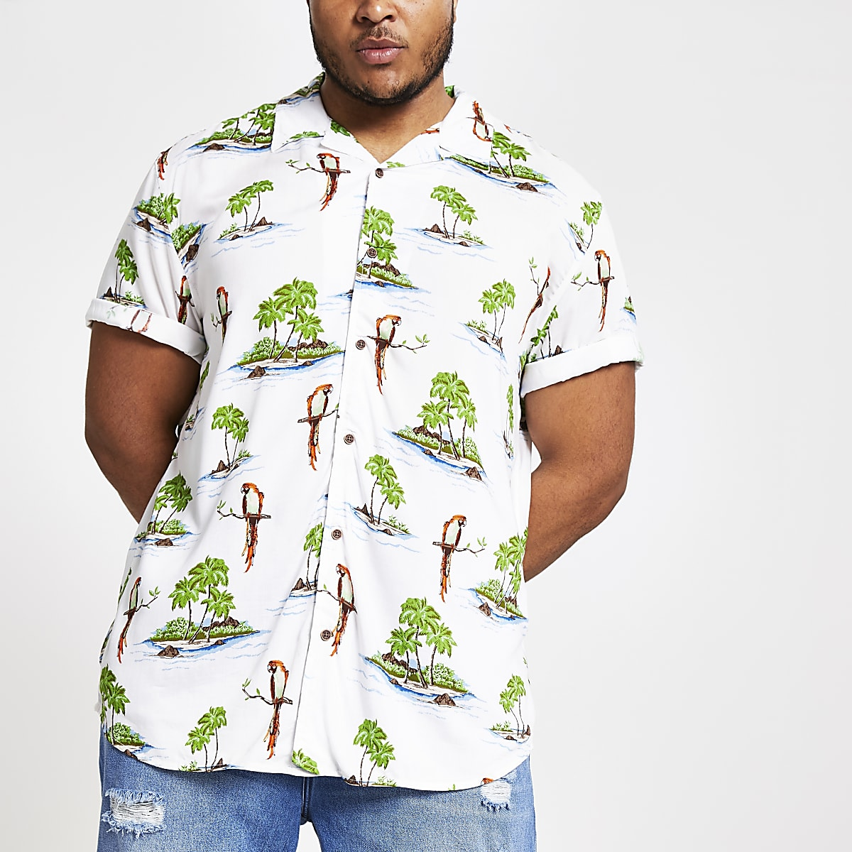 Only & Sons - Big and Tall - Wit overhemd met Hawaiiaanse print