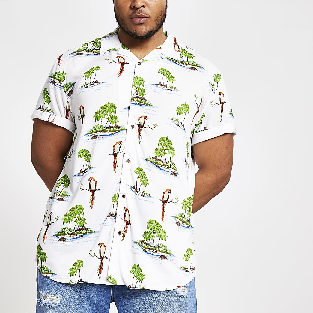 Only & Sons – Big and Tall – Chemise hawaïenne blanche