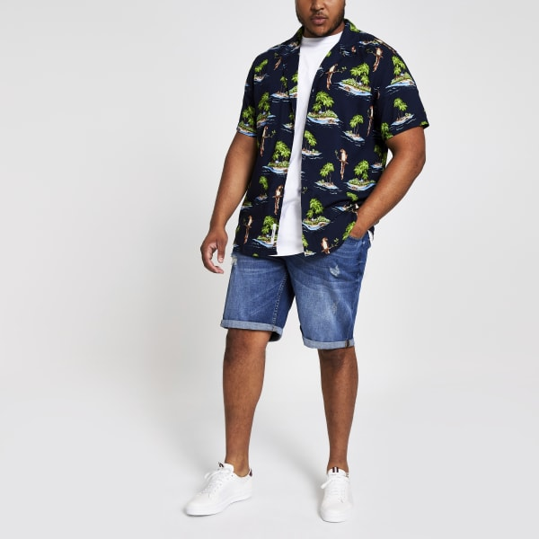 River Island - & sons – big & tall – marineblaues hawaii-hemd - 4