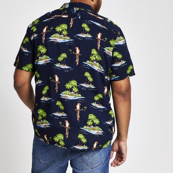 River Island - & sons – big & tall – marineblaues hawaii-hemd - 3