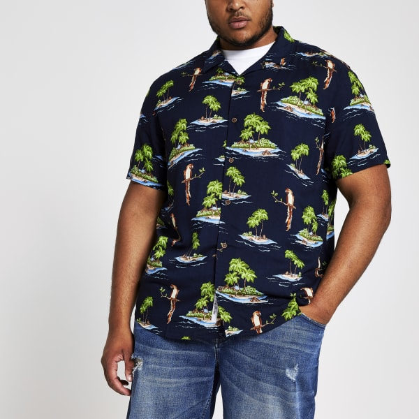 River Island - & sons – big & tall – marineblaues hawaii-hemd - 1