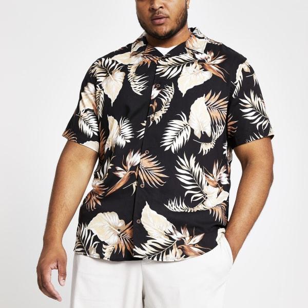 River Island - & sons – big & tall – schwarzes hemd mit print - 1