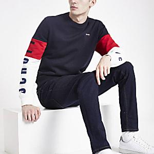 Schott - Marineblauw sweatshirt met kleurvlakken