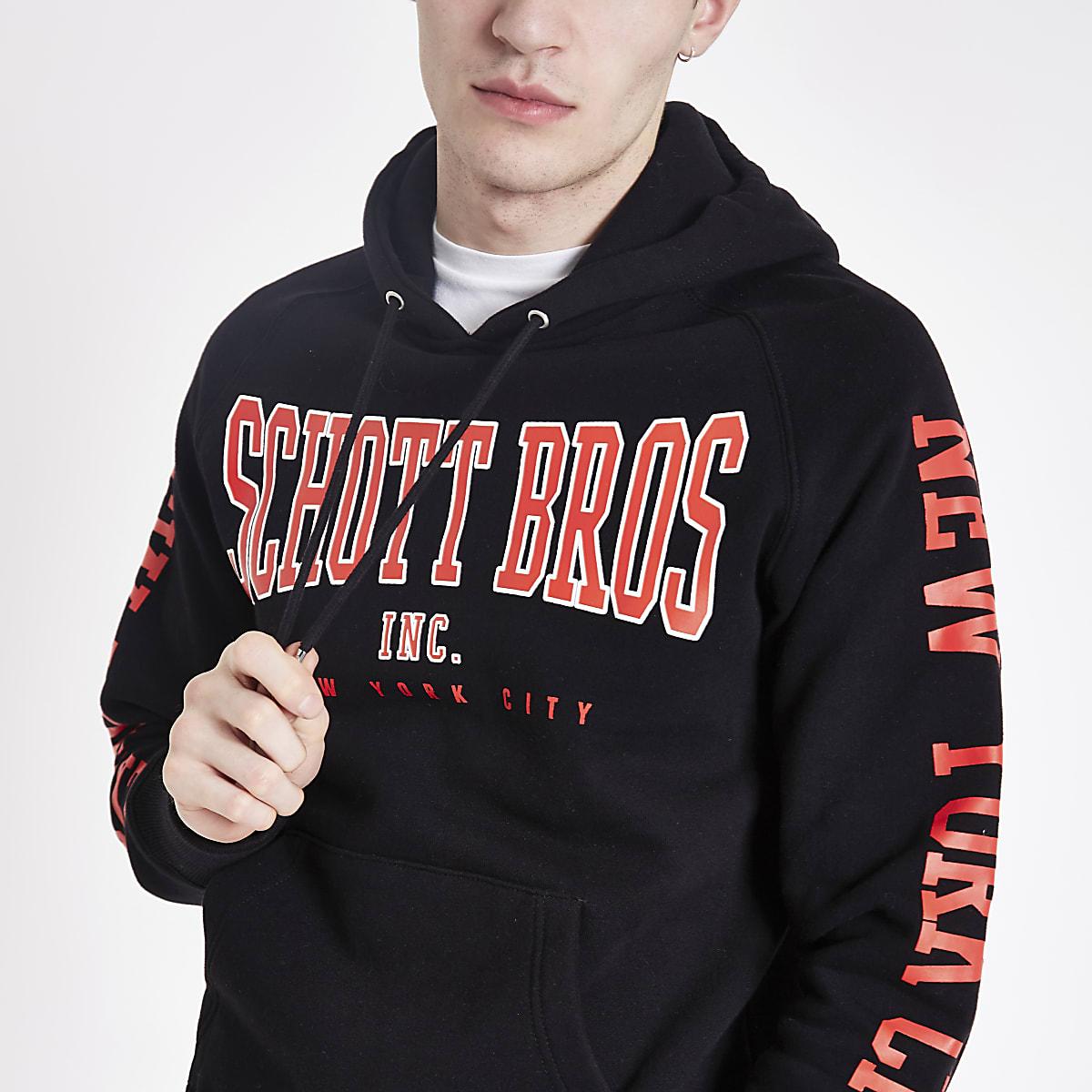 Schott - Zwarte hoodie met logo