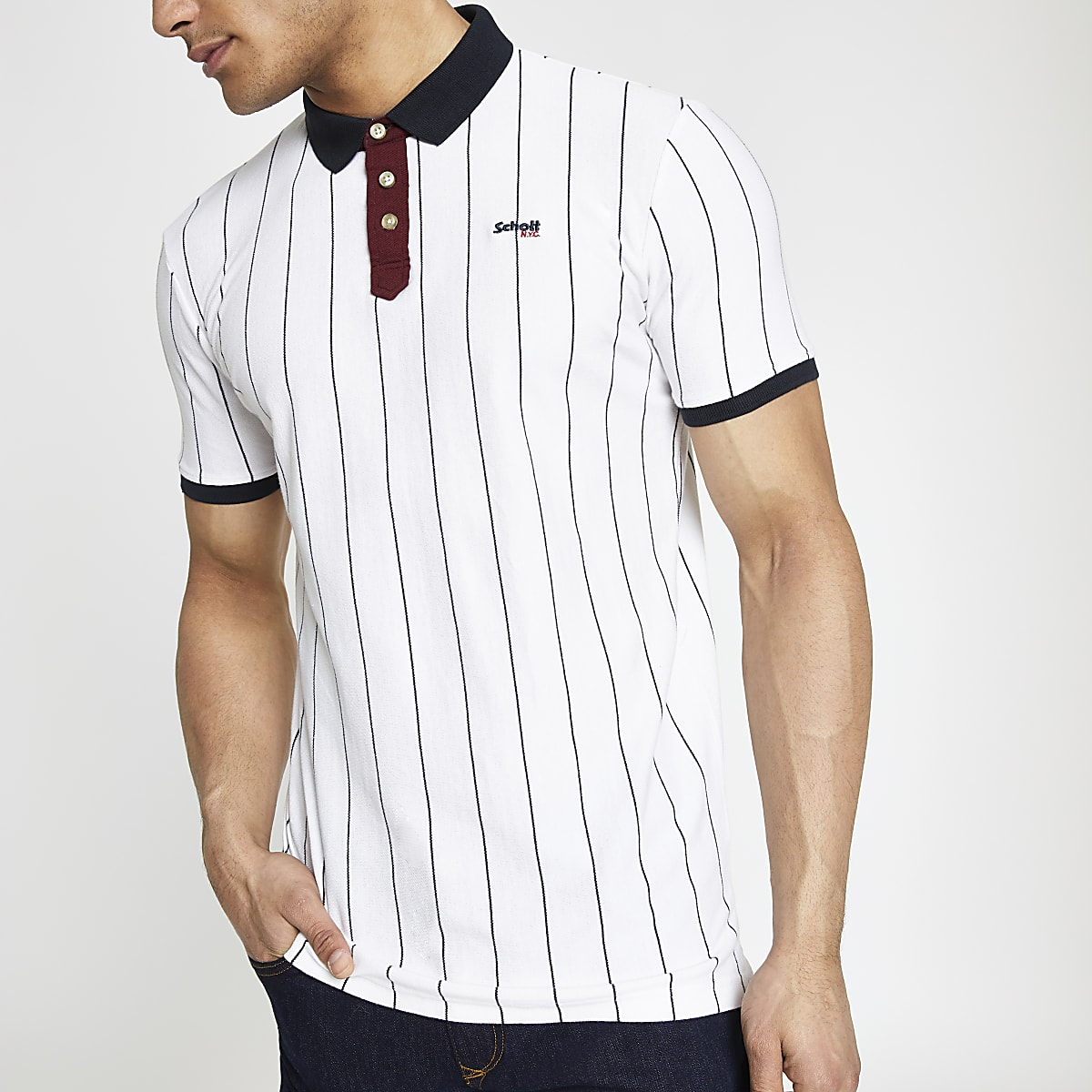 Schott white stripe polo shirt