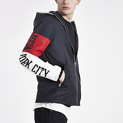Schott navy block hooded jacket