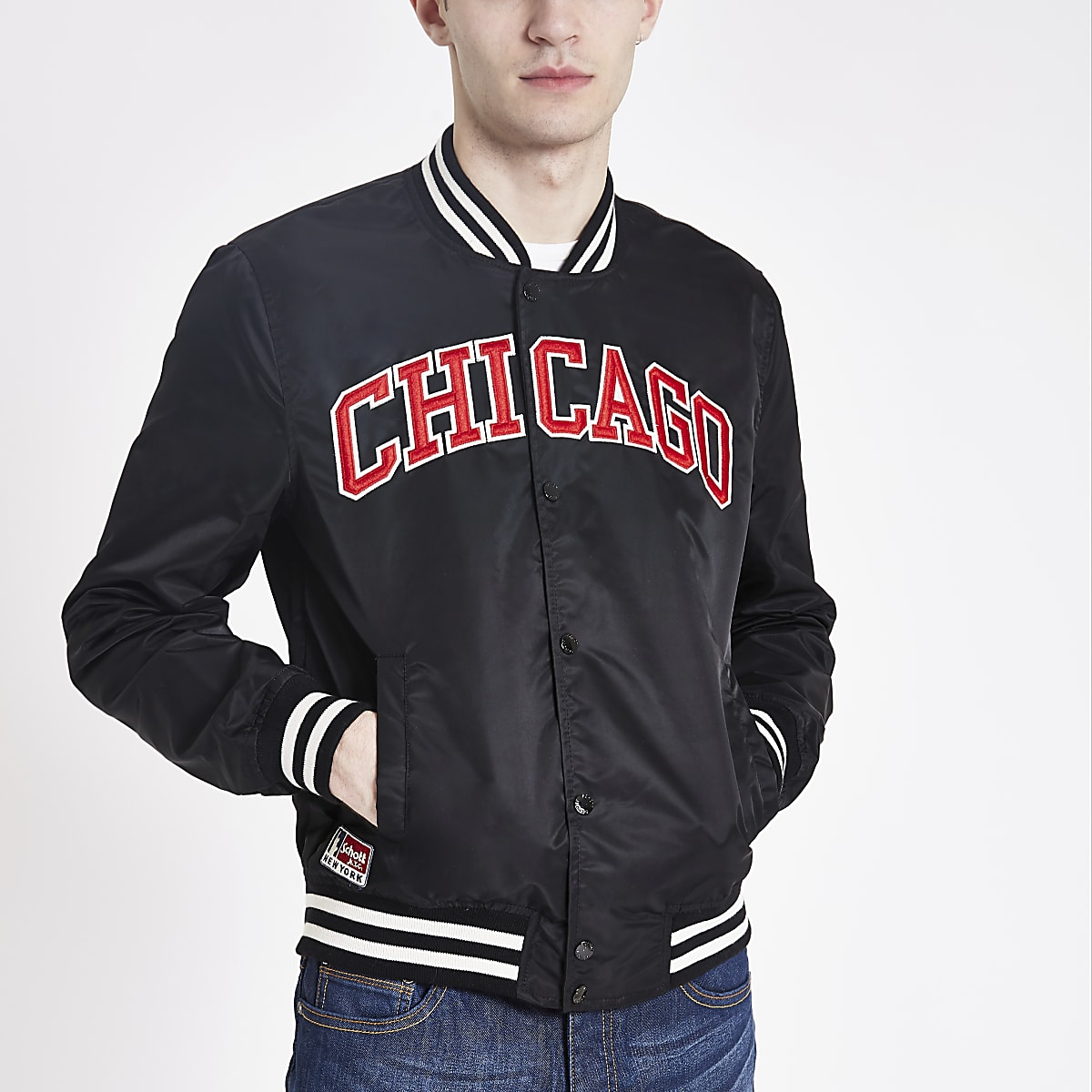 Schott black 'Chicago' bomber jacket
