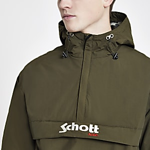 Schott green lightweight hooded jacket