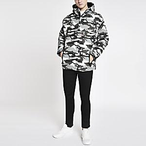 Schott - Grijs lichtgewicht jack met camouflageprint