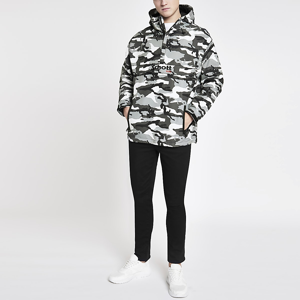 Schott grey camo lightweight hooded jacket