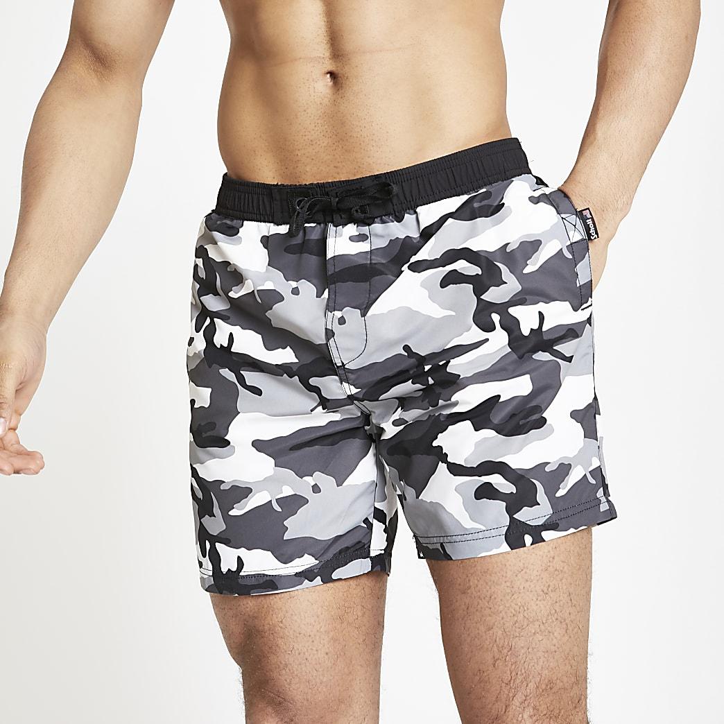 Schott grey camo swim shorts