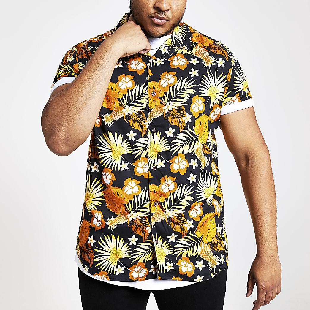 Obnly & Sons - Big and Tall - Zwart overhemd met bloemenprint