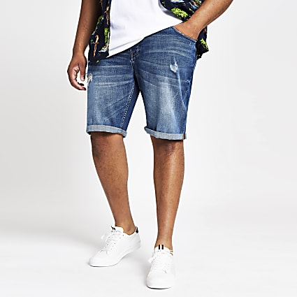 Only & Sons Big and Tall washed denim shorts