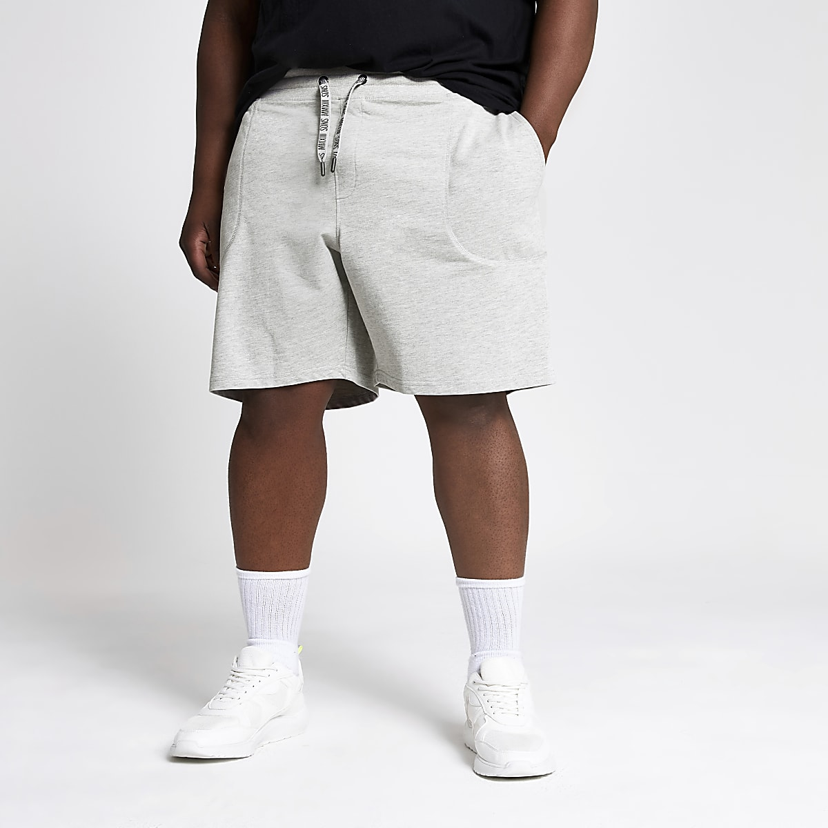 Only & Sons Big and Tall grey jersey shorts