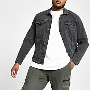 Only & Sons – Big and Tall – Veste en denim noire