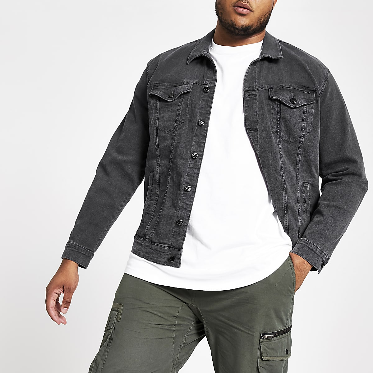 Only & Sons Big and Tall black denim jacket