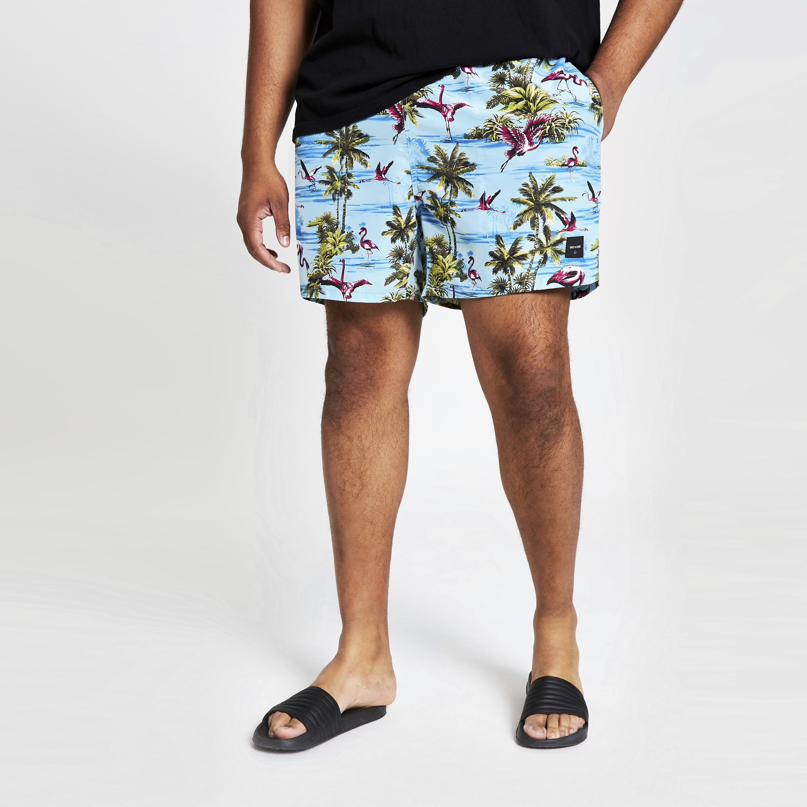 RIVER ISLAND | Mens Only & Sons Big and Tall Blue swim shorts | Goxip