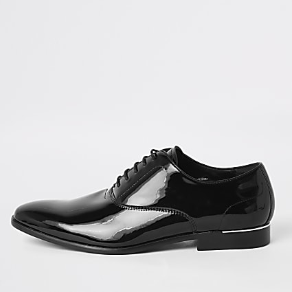 Black patent lace-up derby shoes