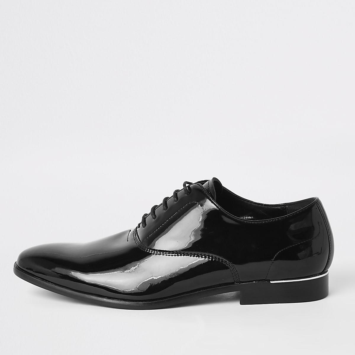 Zwarte lakleren derby veterschoenen