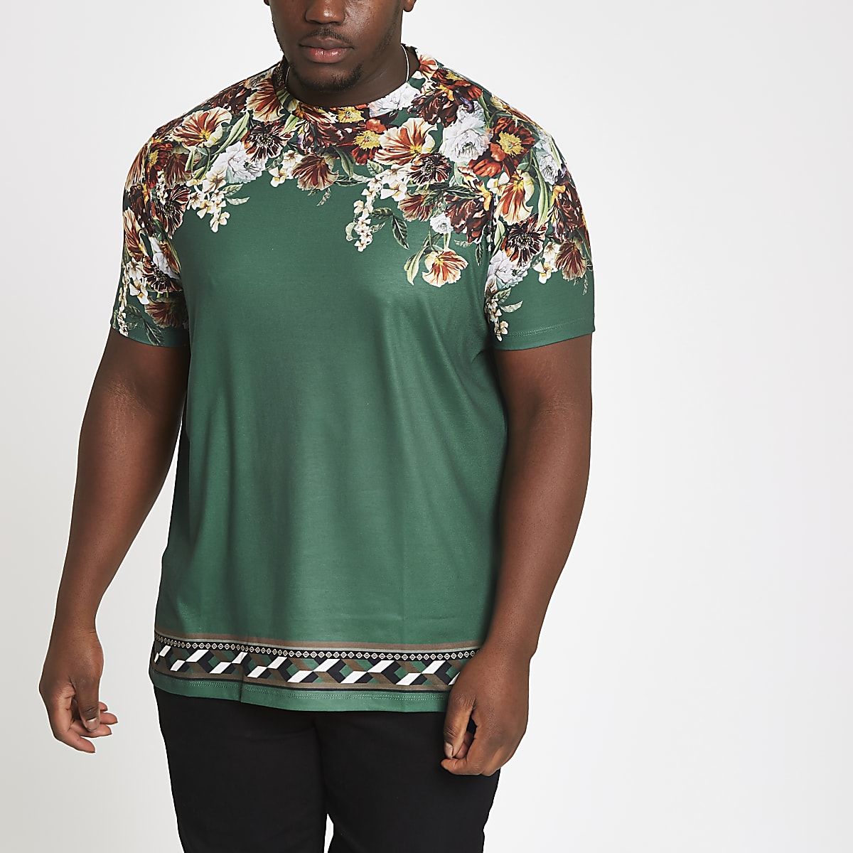 Big and Tall – T-shirt slim à fleurs vert