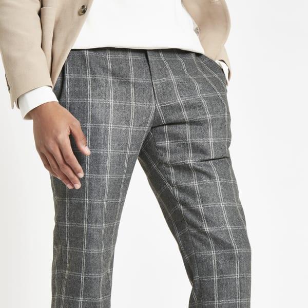 River Island - pantalon skinny habillé à carreaux gris - 4